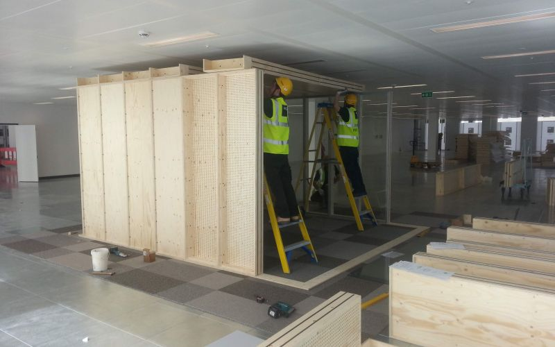 Construction of modular office building for Google