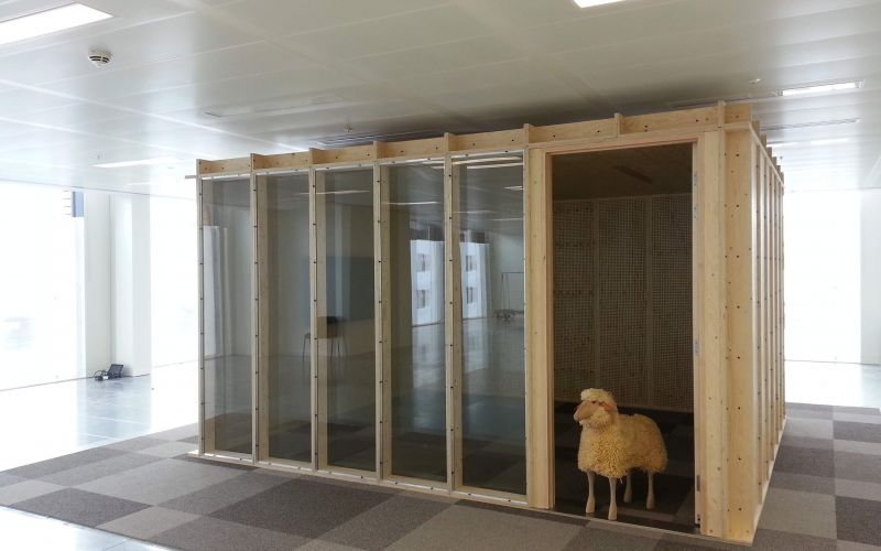 Glass-fronted internal modular meeting room installed for Google
