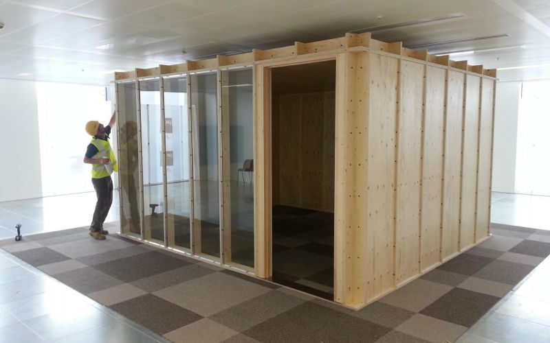 Glass-fronted acoustically insulated modular office designed for Google
