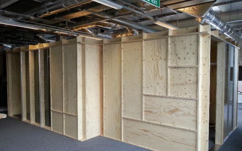 Eco-friendly plywood modular office system designed for Google